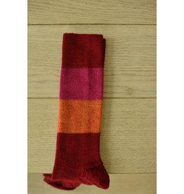Dunne halflange sok met blokstrepen rood/oranje biologisch