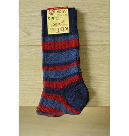 Halflange sok gestreept rood/blauw biologische wol
