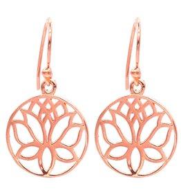 Lotus oorbellen koperkleurig