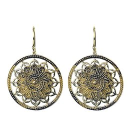 Mandala lotus oorbellen goudkleurig
