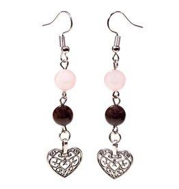Granaat en rozenkwarts oorbellen met hartje