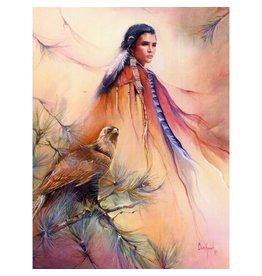 Falcon woman wenskaart