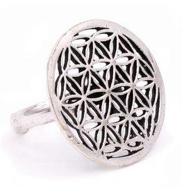 Ring bloem des levens zilverekleur rond  2,50cm