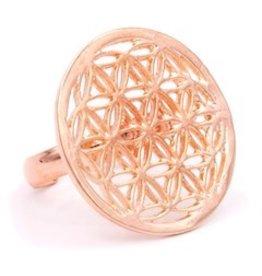 Ring bloem des levens roze goudkleur rond  2,50cm