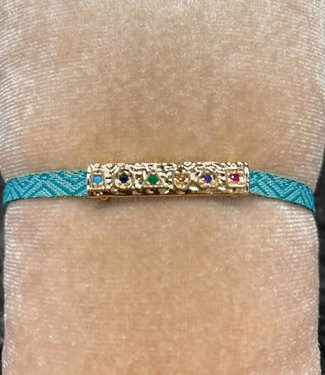 Armband blauw goud staafje