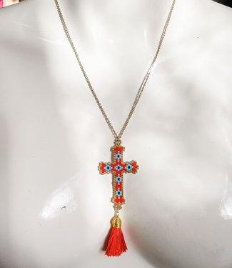 Fashion Ketting rood kruis