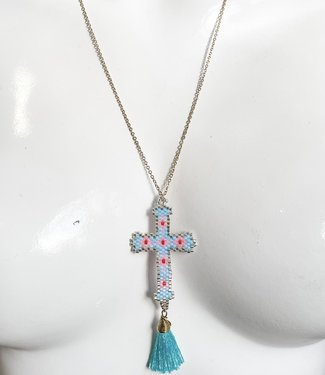 Ketting lichtblauw kruis