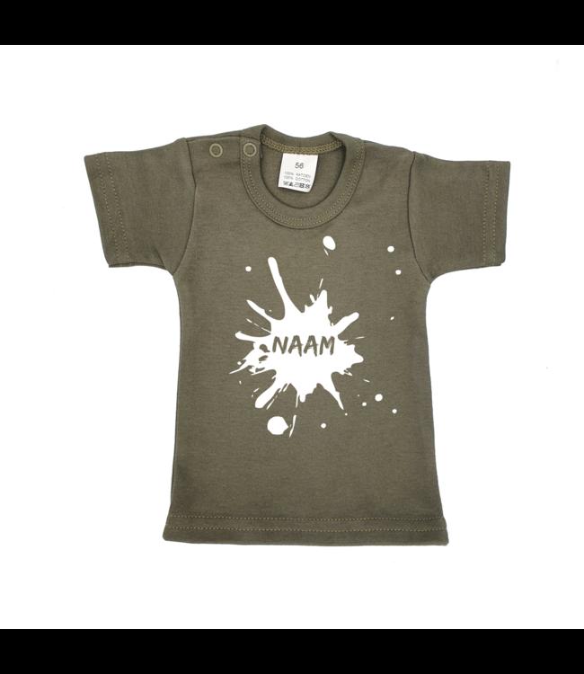 T-shirtje Legergroen met tekst