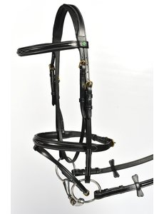 LJ Leathers New Pro Hoofdstel gecomb. Neusriem, zwart