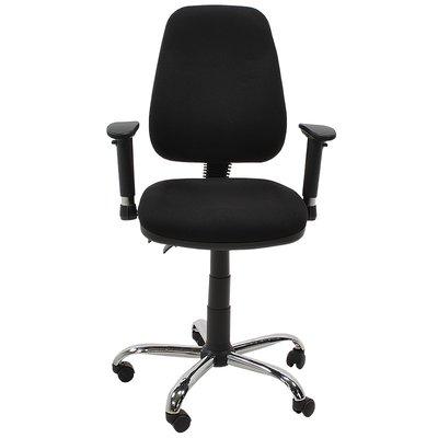 MN Asta Bureaustoel Zwart Zwarte Stof Kantelbare Zitting En Rugleuning
