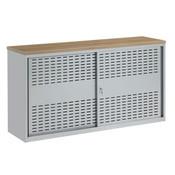 MN HQ Schuifdeurkast Zilvergrijs H100xB160xD45 Inclusief Topblad