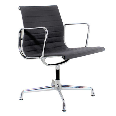 Vitra EA 108 Design Vergaderstoel Hopsak Zwart Chroom