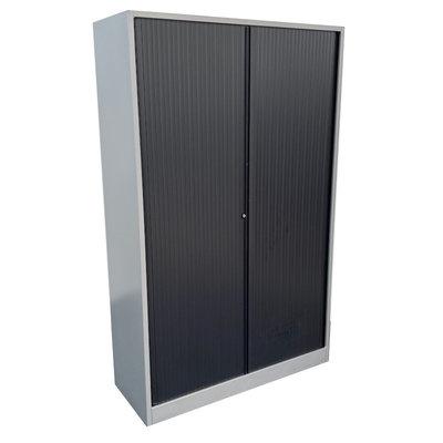 Ahrend Roldeurkast Zilvergrijs Zwarte Deuren H195xB120xD45