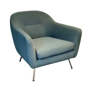Made Reece Design Fauteuil Blauw/Grijs Chroom