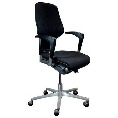 Giroflex 64 Bureaustoel Zwart Nieuwe Stof Lage Rug Antraciet Voetkruis