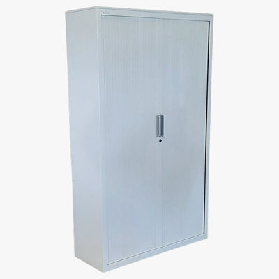 Steelcase Roldeurkast Wit 198 x 120 x 43 zwarte legborden