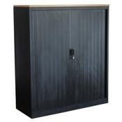 Roldeurkast Zwart Zwart Beuken 105 x 120 x 43