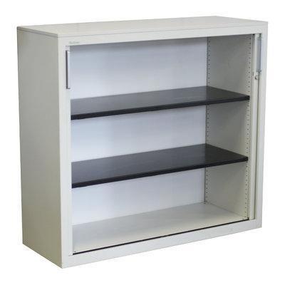 Steelcase Roldeurkast Wit 111 x 120 x 43 zwarte legborden