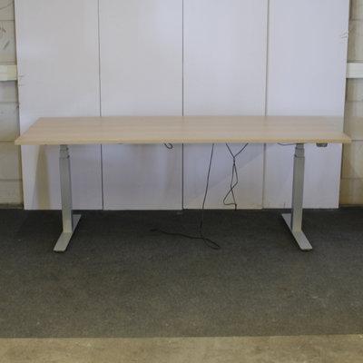 Schaffenburg Elektrisch Zit Sta Bureau 200 x 80 Zilvergrijs Licht Eiken