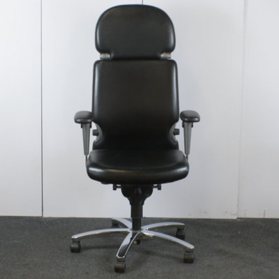 Comforto D7713 Bureaustoel Zwart Leder Hoofdsteun Tempur