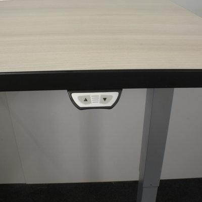 Elektrisch Zit Sta Bureau Licht Eiken Zwart Grijs 160 x 80
