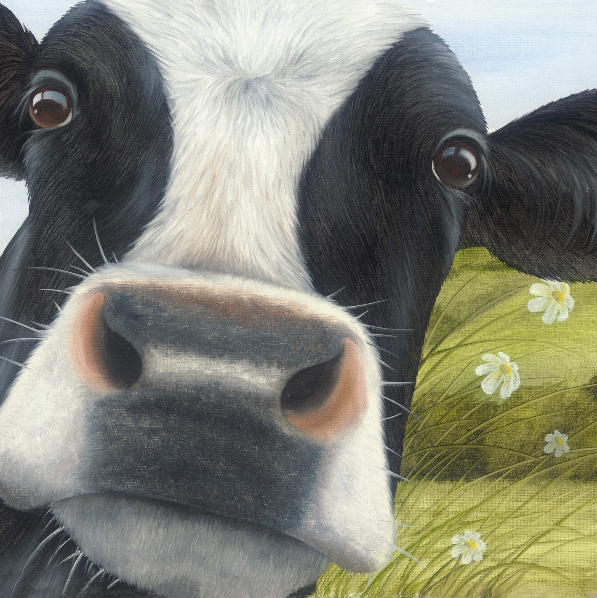 ~ Cow/'s Close-up Selfie MOO ~ Blank greeting card ~ free p/&p