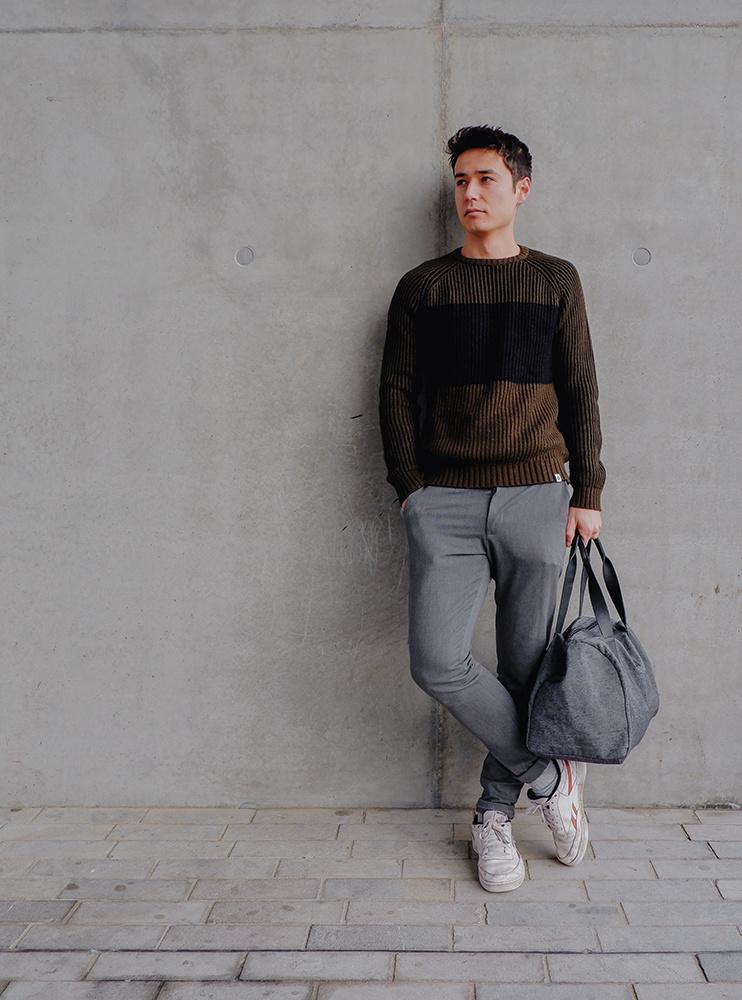 be the fibre John Bag - Weekend/Sport Tas - Black Denim