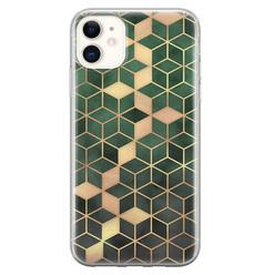 Leuke Telefoonhoesjes iPhone 11 siliconen hoesje - Green cubes