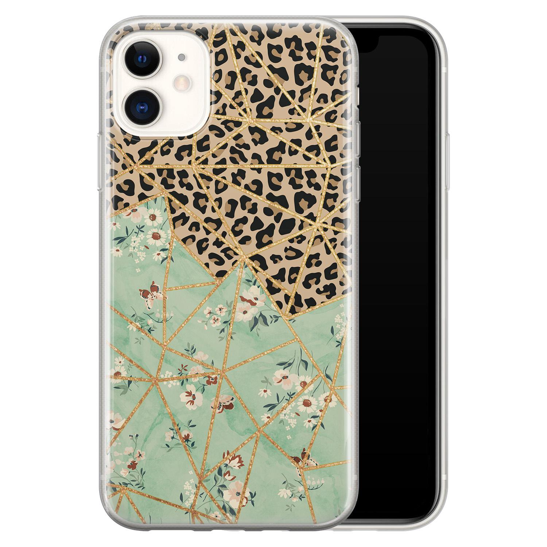 iPhone 11 siliconen hoesje - Luipaard flower print