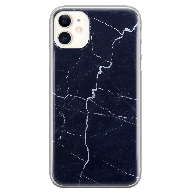 iPhone 11 siliconen hoesje - Marmer navy blauw
