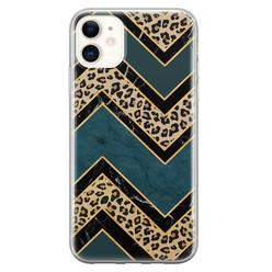 Leuke Telefoonhoesjes iPhone 11 siliconen hoesje - Luipaard zigzag