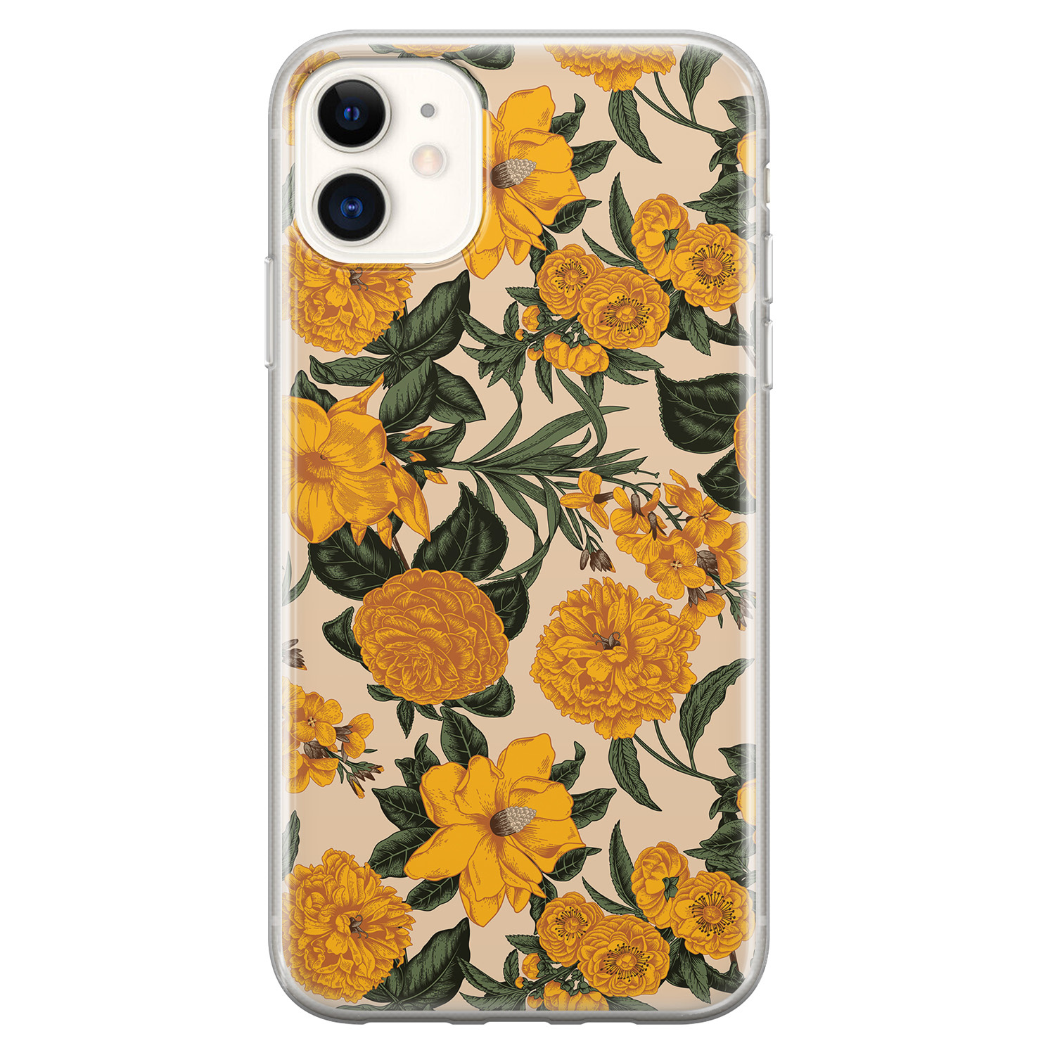 iPhone 11 siliconen hoesje - Retro flowers