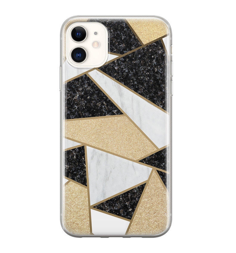 iPhone 11 siliconen hoesje - Goud abstract