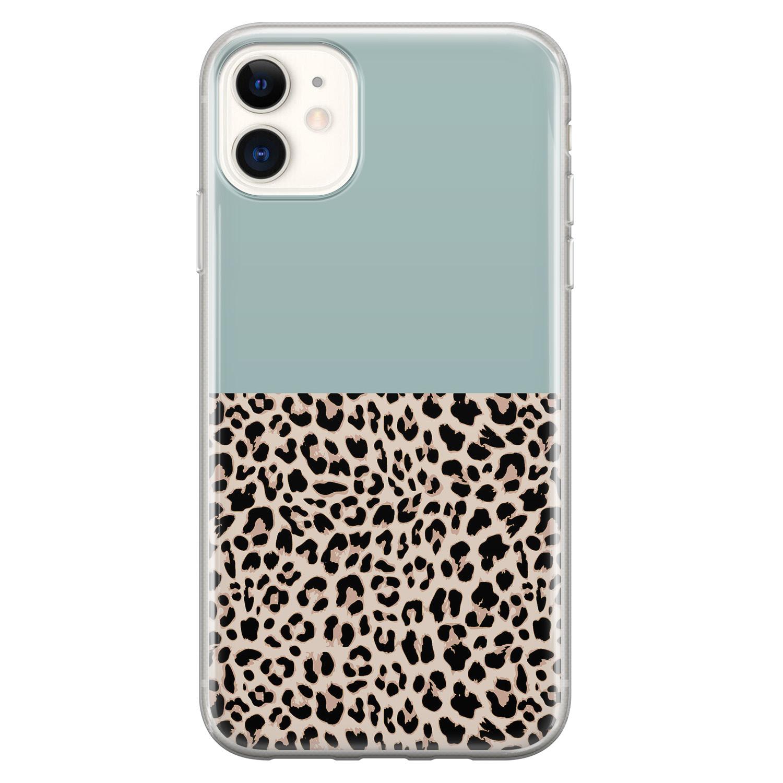 iPhone 11 siliconen hoesje - Luipaard mint