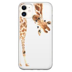 iPhone 11 siliconen hoesje - Giraffe peekaboo
