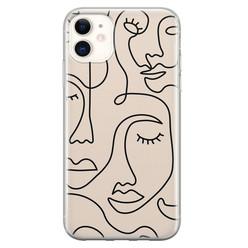 iPhone 11 siliconen hoesje - Abstract gezicht lijnen