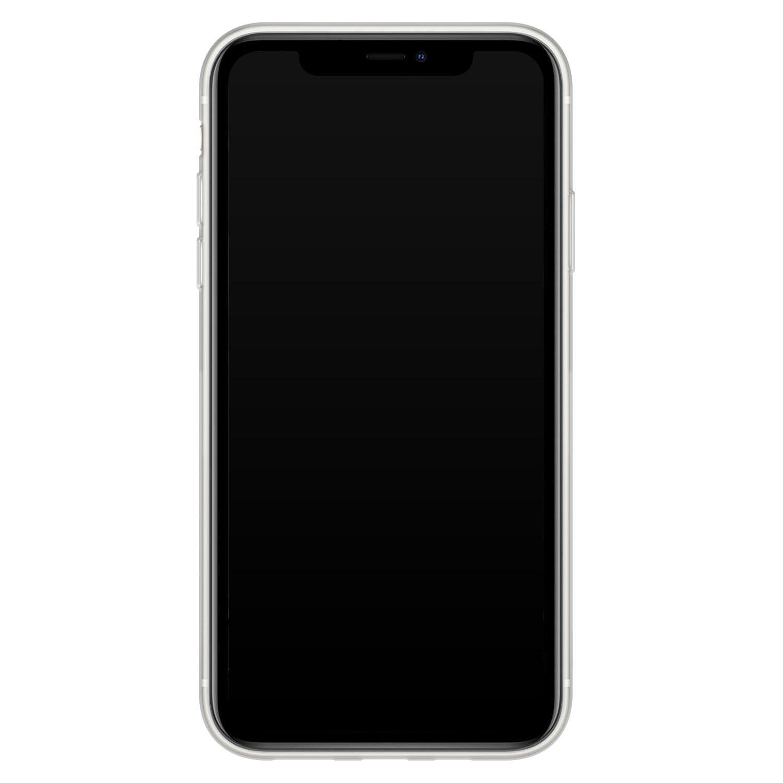 iPhone 11 siliconen hoesje - Goud blauw marmer