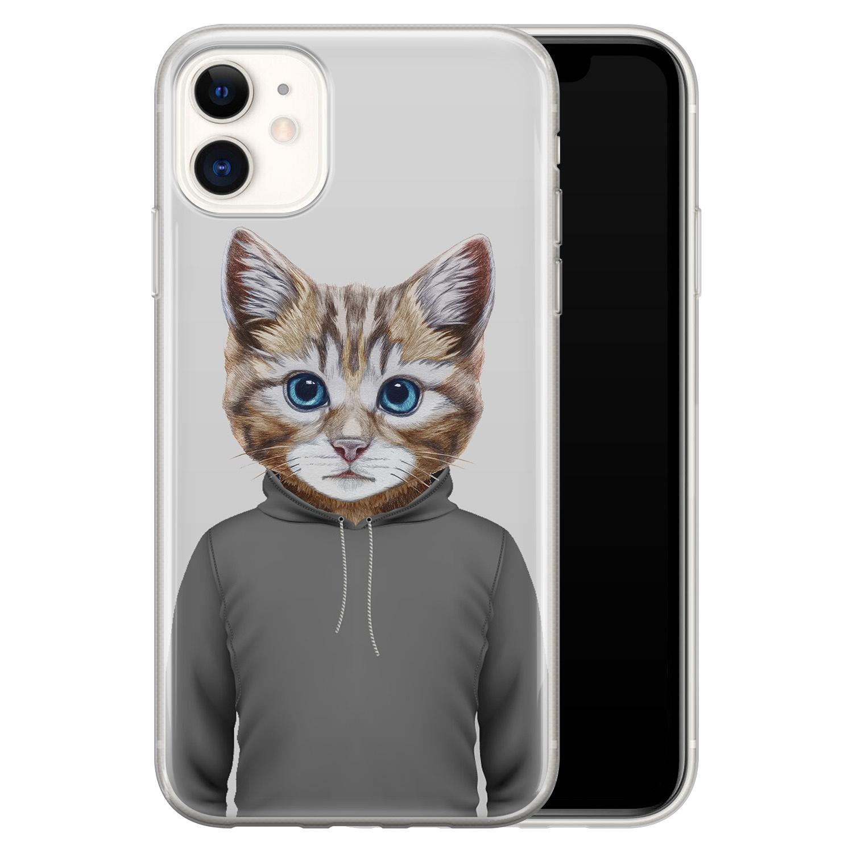 iPhone 11 siliconen hoesje - Poezenhoofd