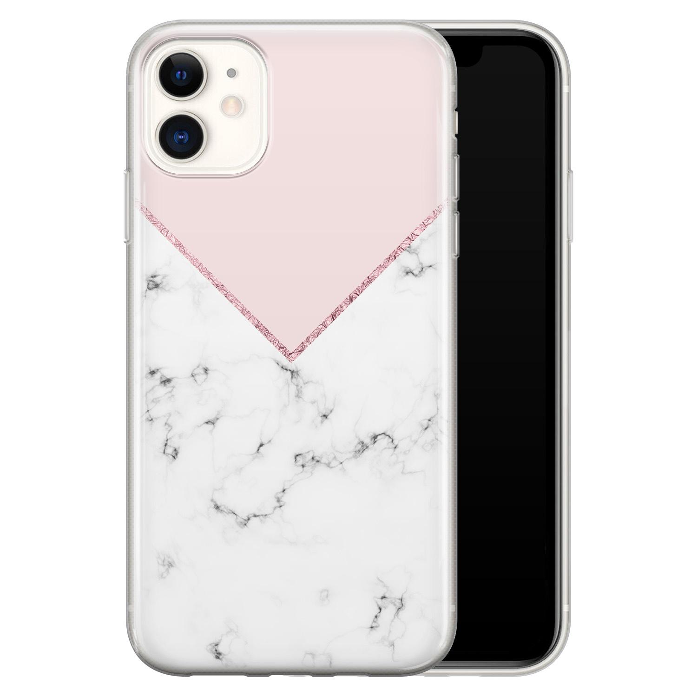 iPhone 11 siliconen hoesje - Marmer roze grijs