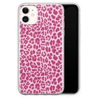 iPhone 11 siliconen hoesje - Luipaard roze