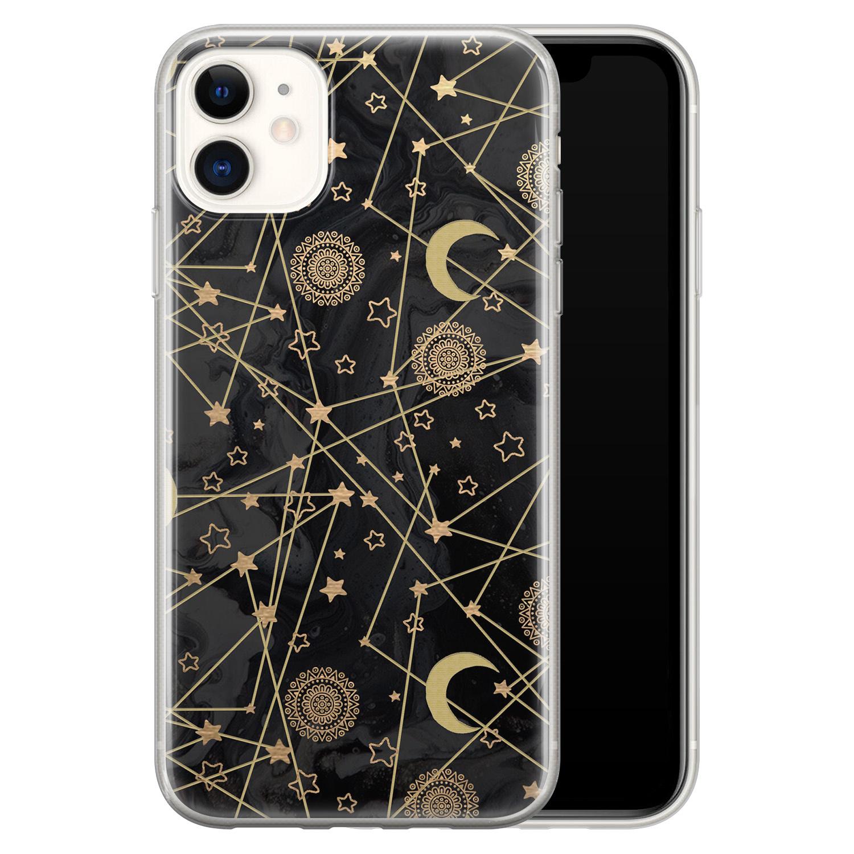 iPhone 11 siliconen hoesje - Sun, moon, stars