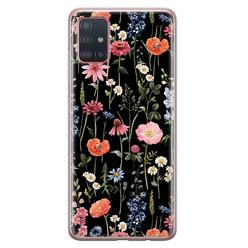 Samsung Galaxy A51 siliconen hoesje - Dark flowers