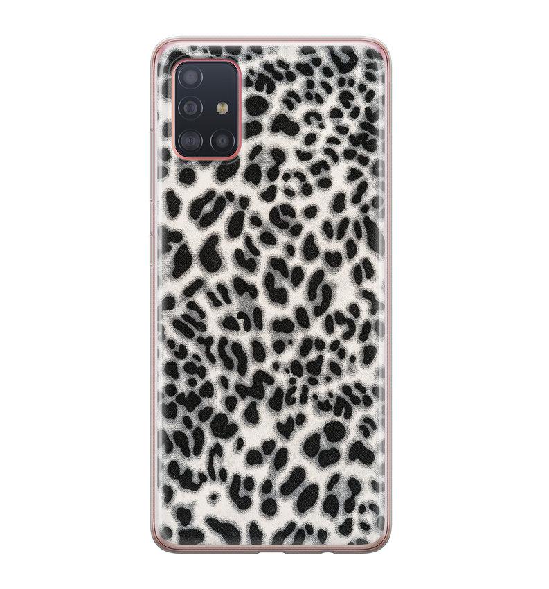 Samsung Galaxy A51 siliconen hoesje - Luipaard grijs