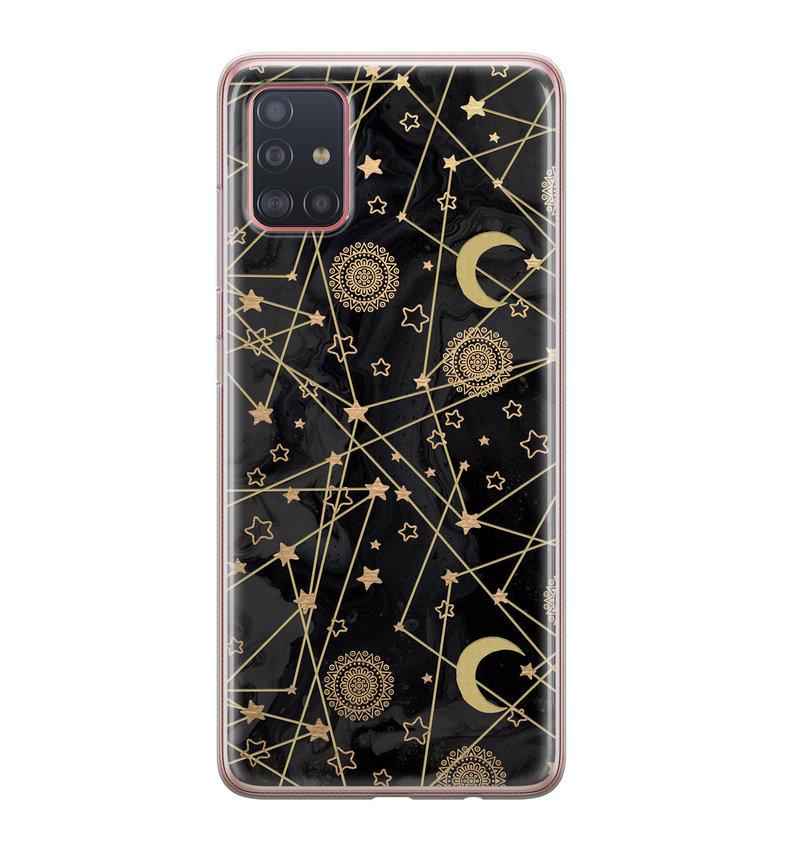 Samsung Galaxy A51 siliconen hoesje - Sun, moon, stars