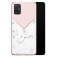 Samsung Galaxy A51 siliconen hoesje - Marmer roze grijs
