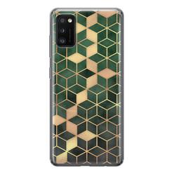 Leuke Telefoonhoesjes Samsung Galaxy A41 siliconen hoesje - Green cubes
