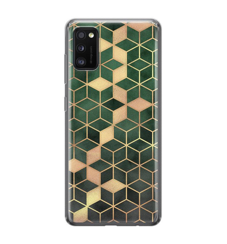 Samsung Galaxy A41 siliconen hoesje - Green cubes