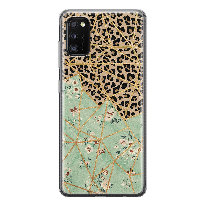 Samsung Galaxy A41 siliconen hoesje - Luipaard flower print