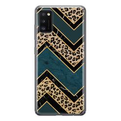 Leuke Telefoonhoesjes Samsung Galaxy A41 siliconen hoesje - Luipaard zigzag