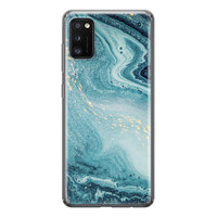 Samsung Galaxy A41 siliconen hoesje - Marmer blauw